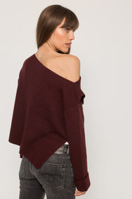 ASYMMETRICAL RIBBED PULLOVER