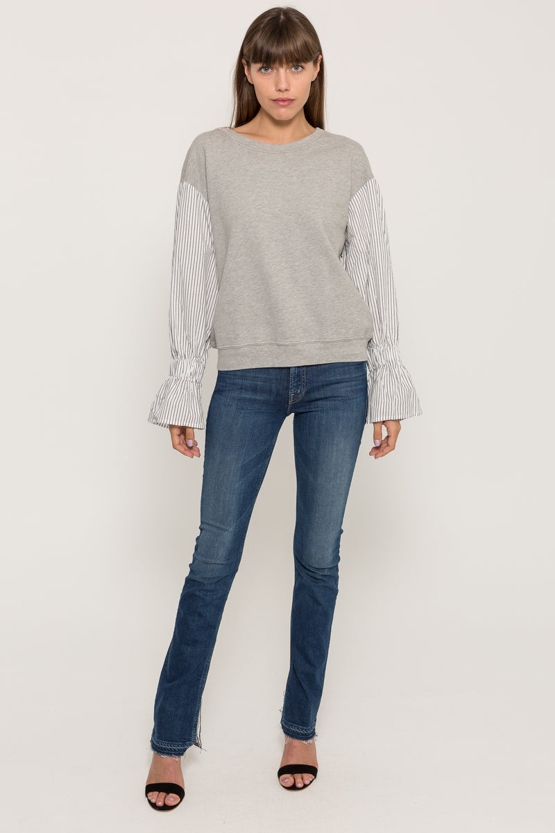 LONG STRIPED SLEEVE SWATSHIRT