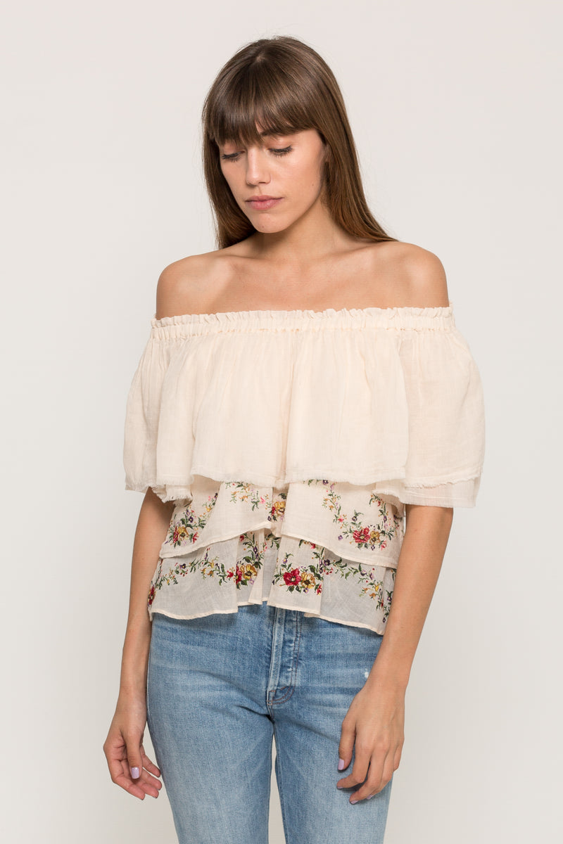 EMBROIDERED OFF THE SHOULDER BLOUSE