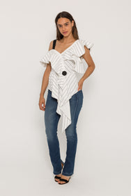 ASYMMETRICAL FRILL CHECK TOP