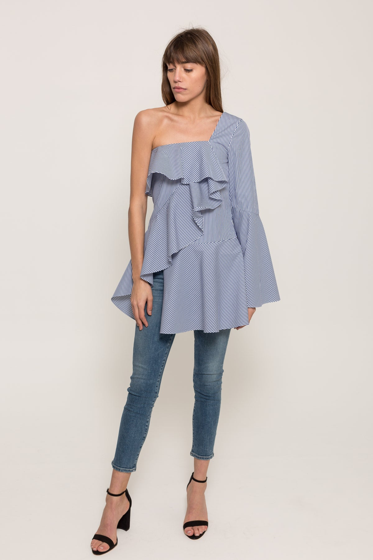 ONE SHOULDER PINSTRIPE ORIGAMI TOP