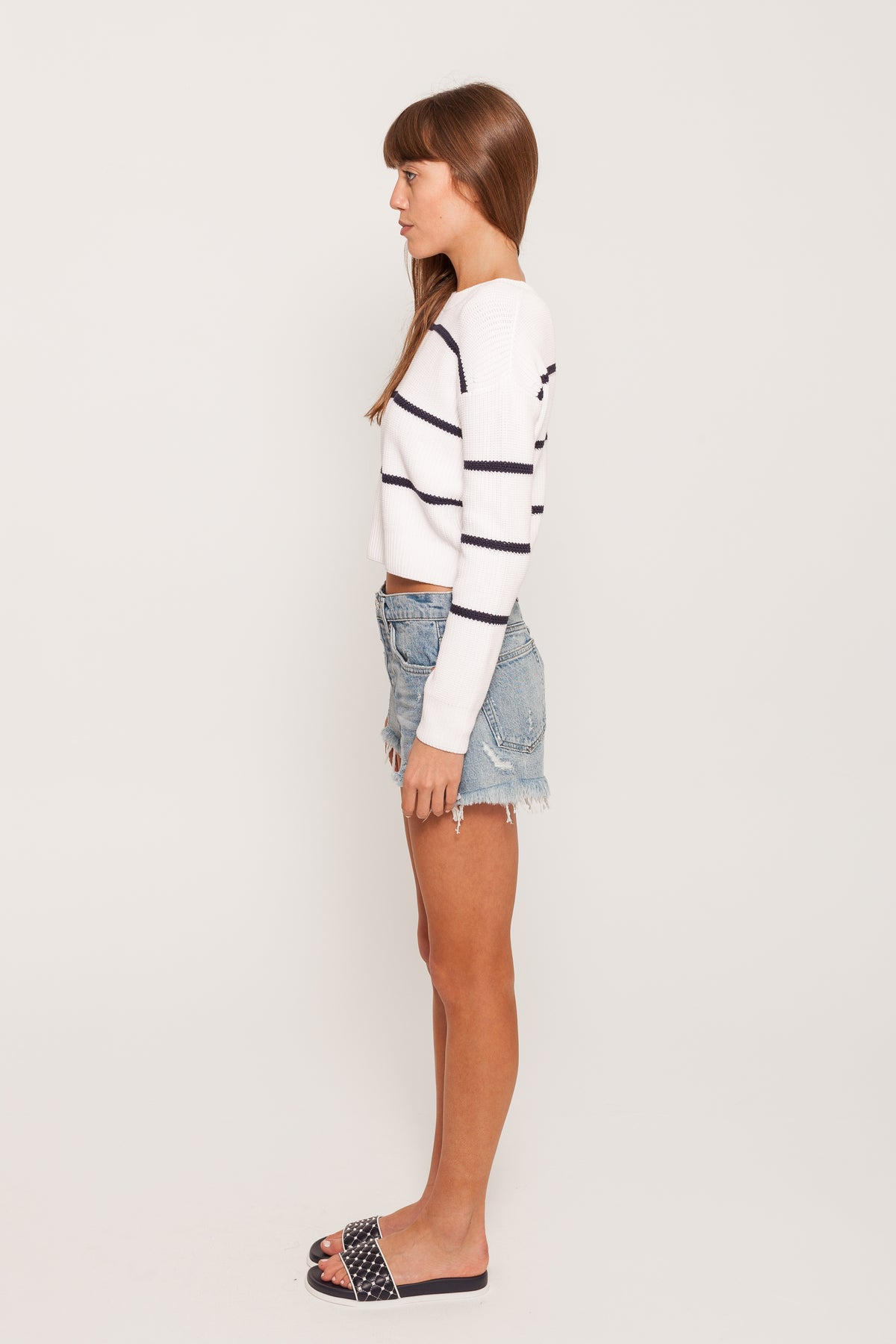 RACKED RIB STRIPE SWEATSHIRT