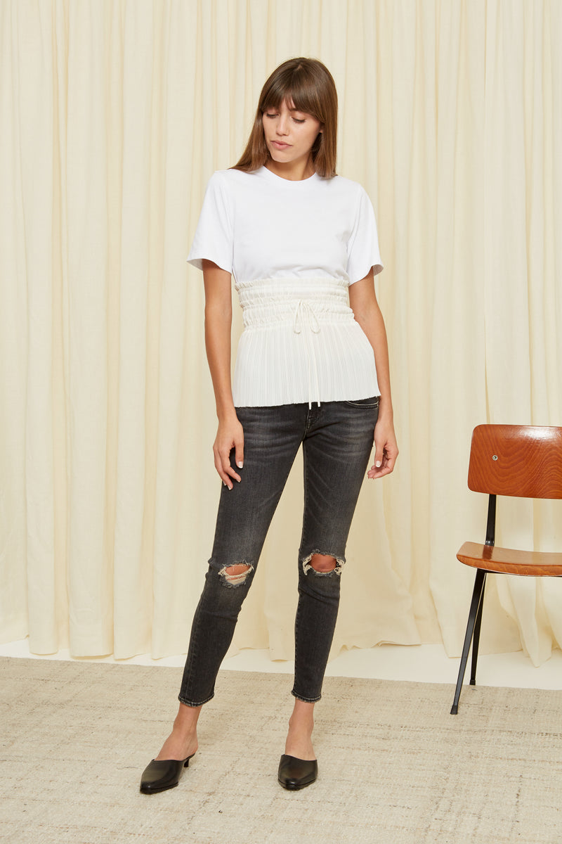 PLEATED WAIST T SHIRT