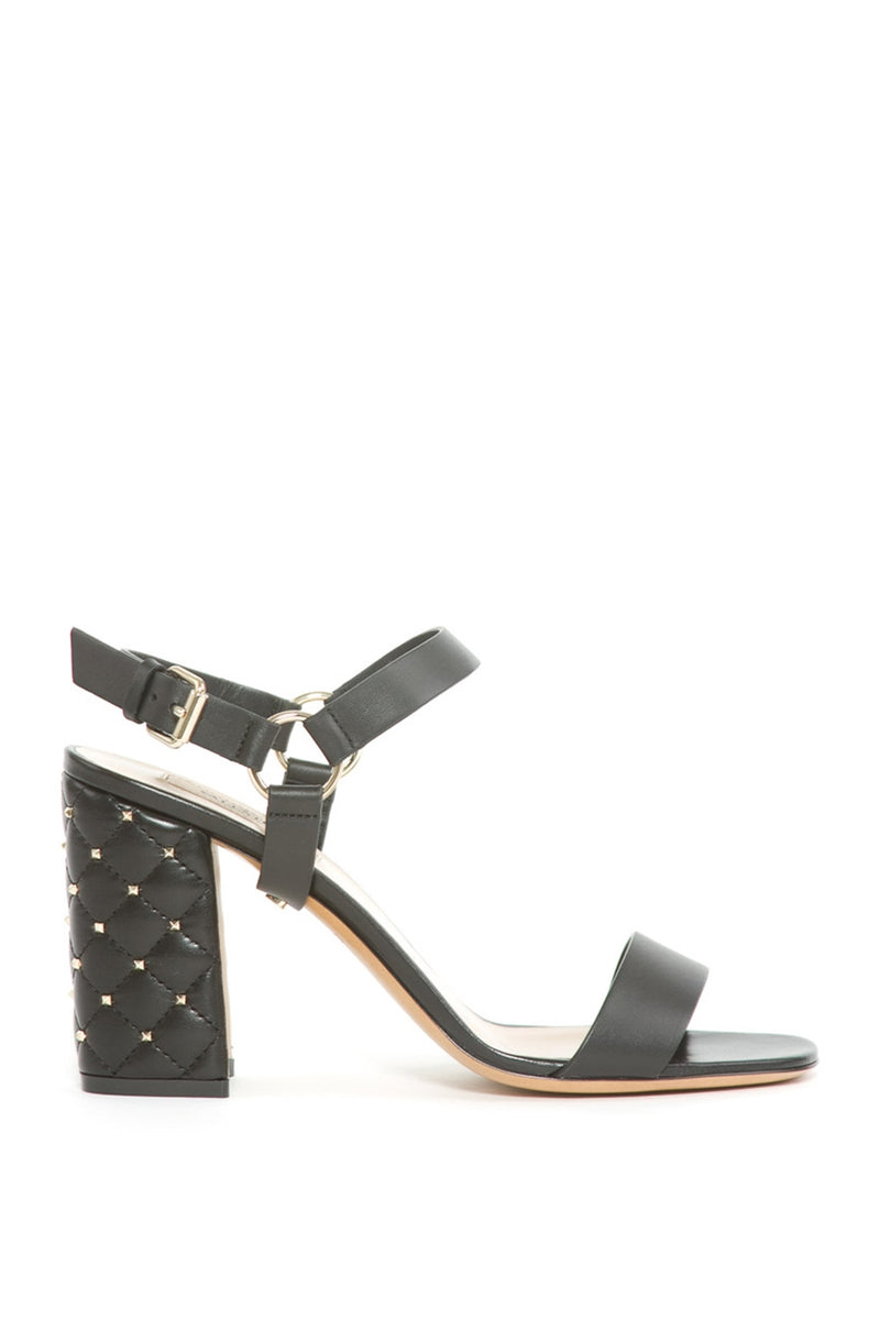 ROCKSTUD SPIKE QUILTED BLOCK HEEL SANDALS