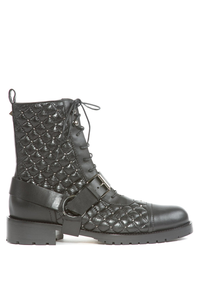 Rockstud Spike Quilted Combat Boots