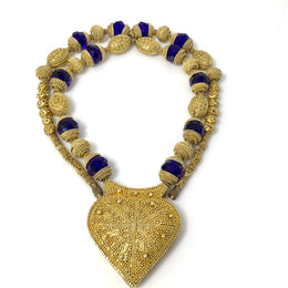 Vintage Gilded Silver Traditional Beaded Necklace with Heart Pendant from Mauritania - Rita Okrent Collection (NE323)