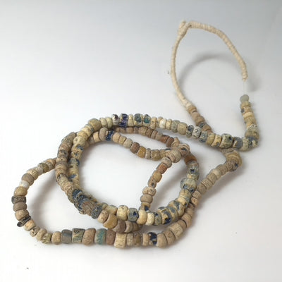 Neutral Beiges Whites Gray Clear Mixed Excavated Glass Nila Bead Strands - Rita Okrent Collection (AT810)