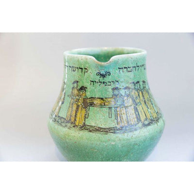Bohemian Green Decorated Chevra Kadisha Pitcher
