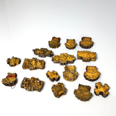 Lot of 16 Gilded Silver Painted Mauritanian Hair Ornaments - Rita Okrent Collection (P879)