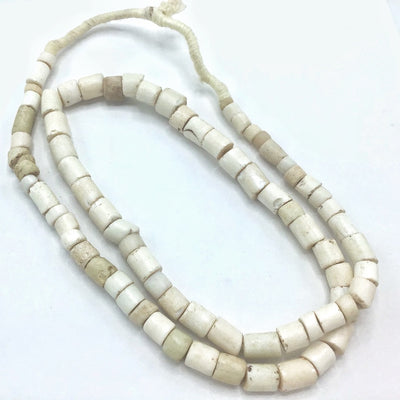 White Glossy Goomba Porcelain Tube Beads from the African Trade - Rita Okrent Collection (AT0876)