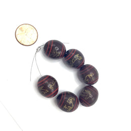 Matched Chinese Lacquer Brown, Red and Gold Wood Beads from China, Set of 6 - Rita Okrent Collection (ANT449)