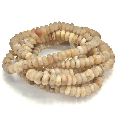 Graduated Ancient Translucent Beige Quartz Donut Stone Beads from Mauritania -Rita Okrent Collection (S479)