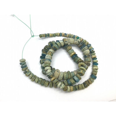 Graduated White, Blue, Green Excavated Ancient Glass Medium Sized Nila Beads, Djenne, Mali  - Rita Okrent Collection (AT0636)