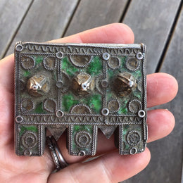 Exquisite Large Antique Enameled Berber Silver Hirz Box Amulet from Morocco - Rita Okrent Collection (P756)