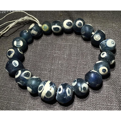 Short Strand of 20 Clean Blue and White Ancient Early Islamic Glass Eye Beads, Mali - Rita Okrent Collection (AG325)
