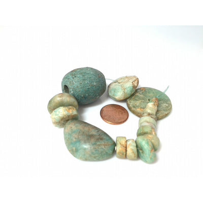 Short Strand of 17 Mixed Size and Shape Ancient Amazonite and Jasper Stone Beads from Mauritania - Rita Okrent Collection (S399b)