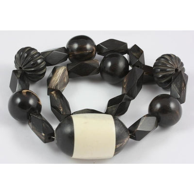 Mixed Black Horn Beads, with Black and White Pendant, Antique, Africa