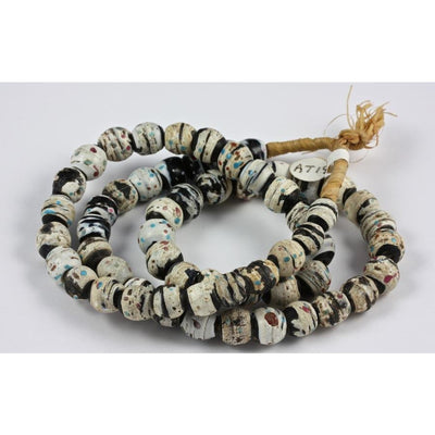 Black and white, red and blue speckled matched Venetian beads, antique, Nigeria