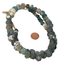 Ancient Excavated Islamic Period Blue Glass Beads, Some with Eyes - Rita Okrent Collection (AG219)