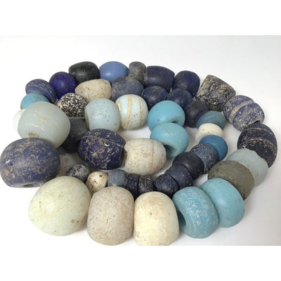 Mixed Indigo, White and Sky Blue Antique European Glass Beads, 26 Inch Strand - Rita Okrent Collection (ANT434)
