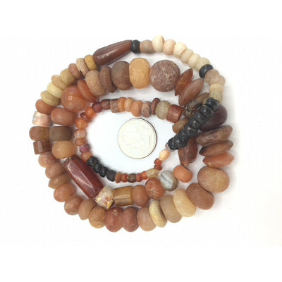 Mixed Shape Agate and Carnelian Stone Strand, in Black, Orange and Off-White - Rita Okrent Collection (S521)