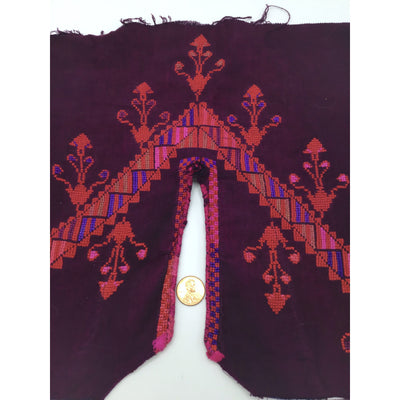 Old Traditional Hand Embroidered Pink and Red on Maroon Background Bedouin Textile Fabric Piece - Rita Okrent Collection (AA294)