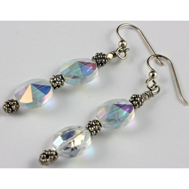 Vintage Swarovski Faceted Crystal Bead Earrings with Silver Beads from Bali 53e07e00c10a