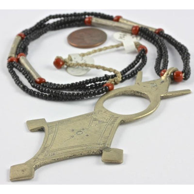 Mauritanian beaded necklace with Vintage Tribal Tuareg Talisman pendant