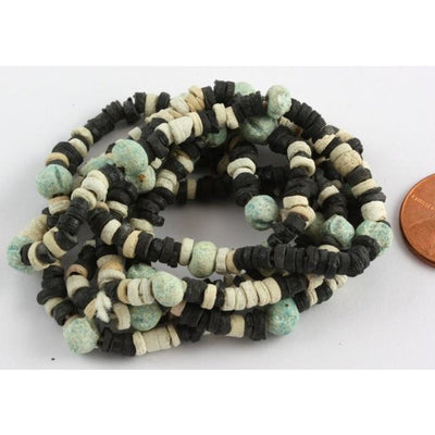 Ancient Black, Blue and White Faience Bead Necklace, Late Period, Egypt
