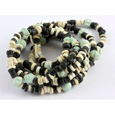 Ancient Black, Blue and White Faience Bead Necklace, Egypt