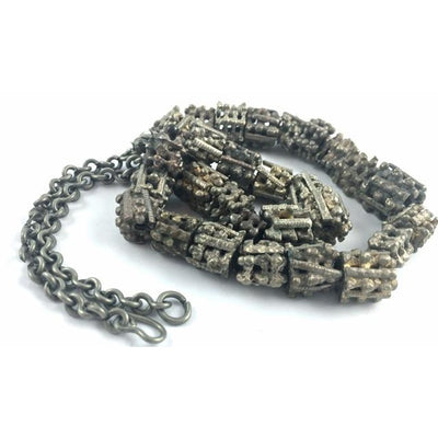 Yemeni Granulated Metal Cylinder Beads, Strand - AT0634