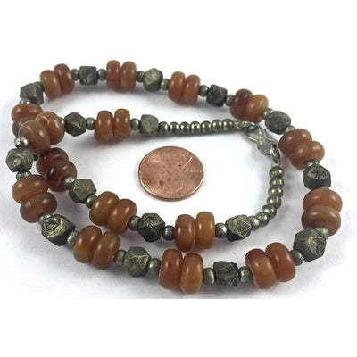 Moroccan Necklace of Silver Metal Hex Beads and Faux Amber Beads