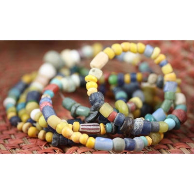 Multicolor Ancient Excavated Medium-Sized Djenne Nila Beads, Mali - AT0167