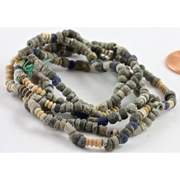 Ancient Gray and Off-White Faience with Triplet Beads, Egypt - C171