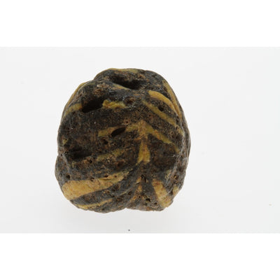 Early Islamic Glass Bead, Black with Yellow Trails, Syria - AG007c