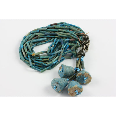 Blue  Ancient Faience Multi-Strand Necklace, with Blue Faience Pendants