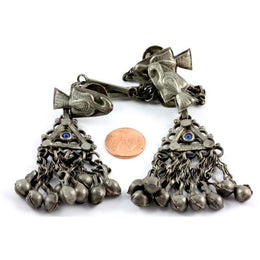 Yemeni Hanging Silver Metal Pendants with Dangles with Mixed Silver - P578