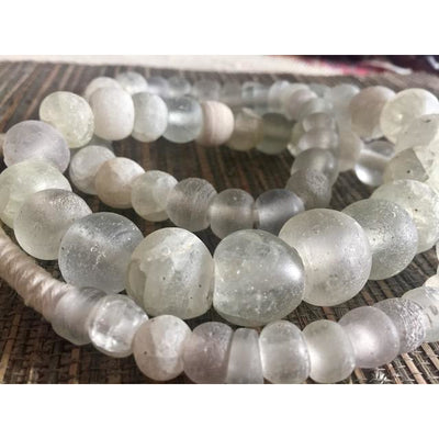 Antique Dutch Dogon Mixed Translucent, Clear and White Opaque Glass Beads