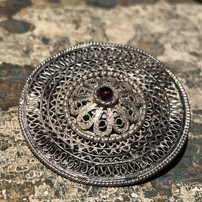 Ethnic Yemeni Silver Round Filigree Brooch Pendant with Glass Setting - Rita Okrent Collection (P551)