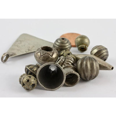 Mixed Vintage Coin Silver Beads and Pendant, Various Sizes and Shapes.- ANT328