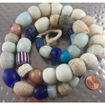 Mixed Antique European White, Blue and Other Mixed Glass Beads, W. Africa