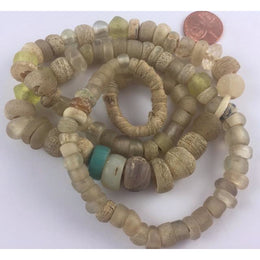 Antique Dutch Moon Beads with Old European Glass and Vaseline Beads, Strand - AT0635c
