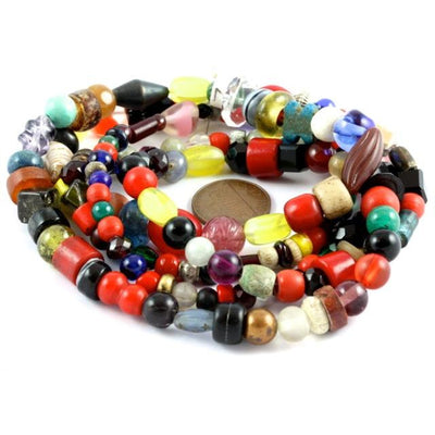 Strand, Mixed Vintage Bohemian Glass and Trade Beads - ANT116