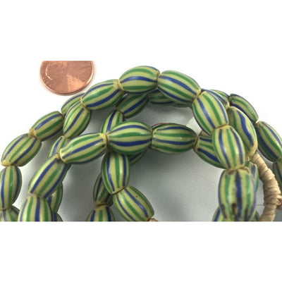 Green and Blue Venetian Striped Melon Chevrons - AT1532