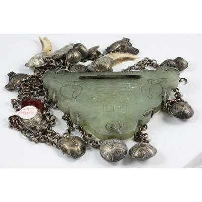 Antique Ethnic Chinese Silver and Jade Necklace