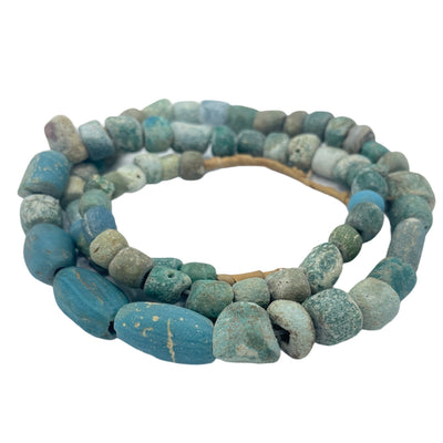 Mixed Shape Ancient Glass Beads in Lovely Blues and Greens - Rita Okrent Collection (AG249)