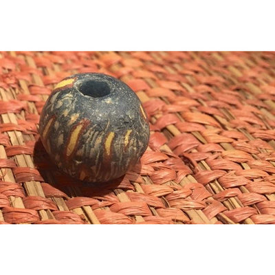 Ancient Glass Jatim Bead, Deep Green with Yellow and Orange, Java, Indonesia - AG088a