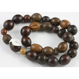 Coffee Bean Brown Wood Beads, Antique - Rita Okrent Collection (ANT012a)