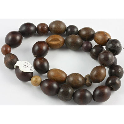 Coffee Bean Brown Wood Beads, Antique