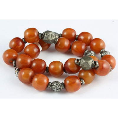 Antique silver and copal beads, Egypt